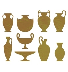 Silhouettes of ancient vases with texture vector