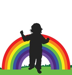 Rainbow line with child vector