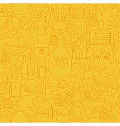 Thin happy easter line seamless yellow pattern vector