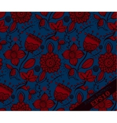 Repeating floral pattern blue and red vector