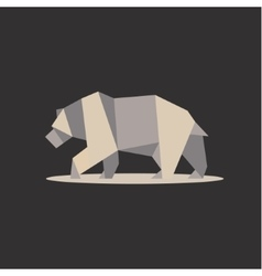Brown bear in polygon style design on the low poly vector