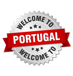 Portugal 3d silver badge with red ribbon vector