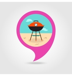 Barbecue grill pin map icon summer holiday vector