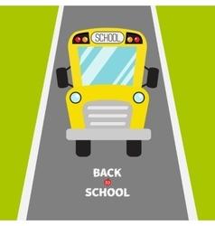 Back to school yellow school bus kids green vector