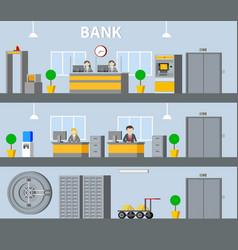 Bank interior horizontal banners vector