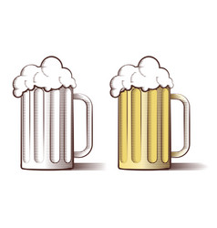 beer in engraved style vector image vector image