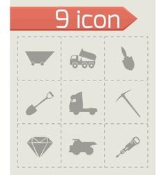 black mining icons set vector image