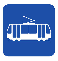 Blue white information sign - tram icon vector