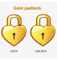 Cartoon gold padlock in heart shaped vector