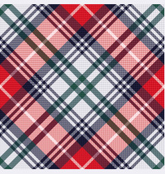 diagonal tartan seamless texture in red and light vector image vector image