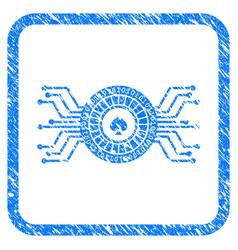 Digital casino roulette framed grunge icon vector