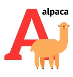 English animals zoo alphabet letter a vector