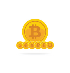 flat golden bitcoins currency symbols of the vector image