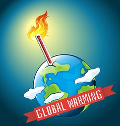 Global warming with hot temperature vector image