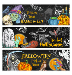 halloween spooky night party chalkboard banner vector image