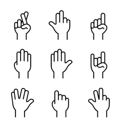 Hands Icons Set on White Background vector image