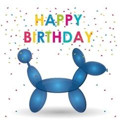 Happy birthday balloon dog shape confetti vector