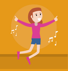 Happy woman music dancing vector