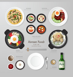 Infographic Korea foods business flat lay idea vector image vector image