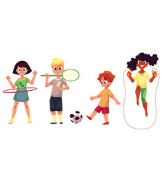 kids twirling hula hoop playing badminton soccer vector image
