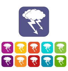 Lightning cloud icons set flat vector