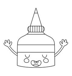 Line kawaii cute funny glue bottle vector