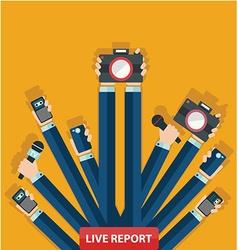 live report concept live news hands of journalists vector image vector image