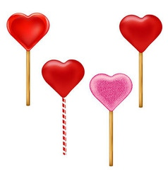 Lollypops Form Of Hearts Set vector image vector image