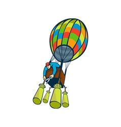 Man cutting ballast hot air balloon vector