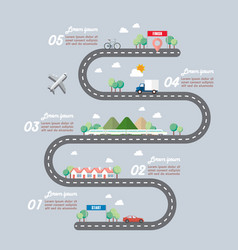 mode of transportation with town road infographic vector image vector image