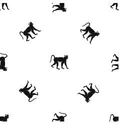 Monkey pattern seamless black vector