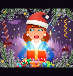 new year surprised cute girl hold light gift box vector image