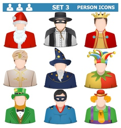 Person icons set 3 vector