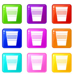 Plastic office waste bin icons 9 set vector