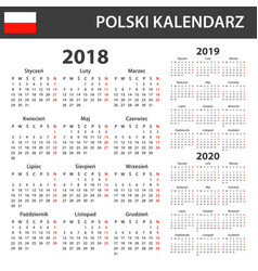 polish calendar for 2018 2019 and 2020 scheduler vector image