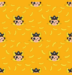 seamless pattern monkey and bananas vector image