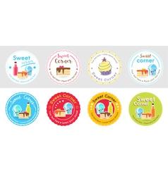 Set of cute sweet bakery badge label vector