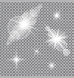 Set of glare lighting twinkle lens flares vector
