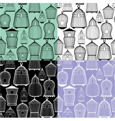 Set of seamless patterns with decorative bird cage vector image vector image