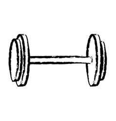 Sketch dumbbell weight gym equipment vector
