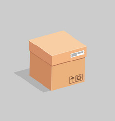 the cardboard box is closed with a lid vector image