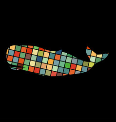Whale undersea color silhouette animal vector