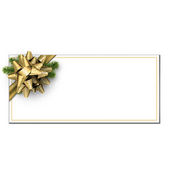 White christmas banner with golden bow vector