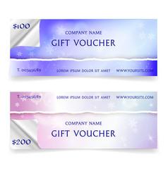 winter snowy gift voucher template vector image vector image