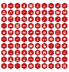 100 smuggling icons hexagon red vector
