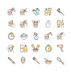 Hair dyeing icons set vector image