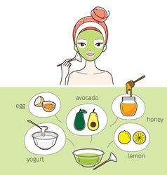 Young Woman With Natural Facial Mask vector image