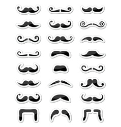 Moustache or mustache icons isolated set as labels vector