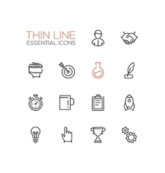 Business finance symbols - thick line design vector
