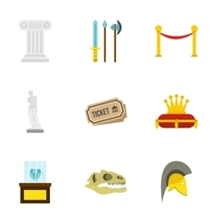 Gallery in museum icons set flat style vector